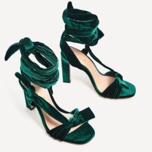 🆕 Zara Green Velvet Heels